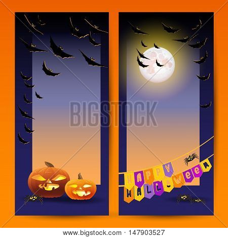Happy Halloween vector flyers or cards. Halloween night background with full Moon, pumpkin, bats, spiders and words Happy Halloween.