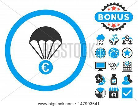Euro Parachute icon with bonus pictogram. Glyph illustration style is flat iconic bicolor symbols, blue and gray colors, white background.
