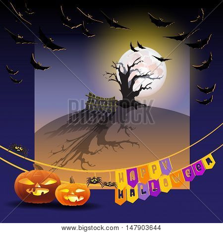 Vector  illustration of Halloween night background with full Moon, pumpkins, tree,  bats and spiders. Halloween card  words Happy Halloween on flags.