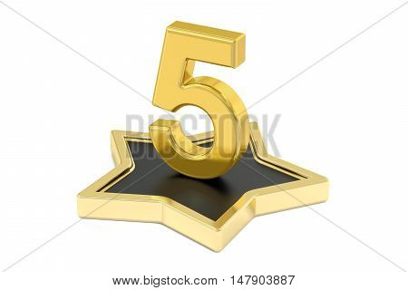 3D golden number 5 on star podium 3D rendering isolated on white background