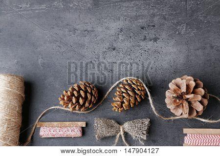Art and craft materials set on dark background
