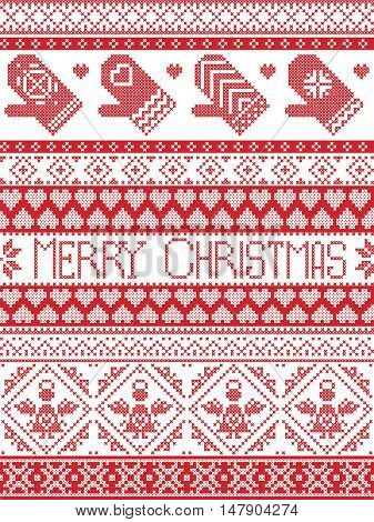 Merry Christmas Tall Scandinavian Printed Textile style and inspired by Norwegian Christmas and festive winter seamless pattern in cross stitch with mittens ,heart, angel, decorative ornaments