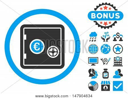 Euro Safe icon with bonus symbols. Glyph illustration style is flat iconic bicolor symbols, blue and gray colors, white background.