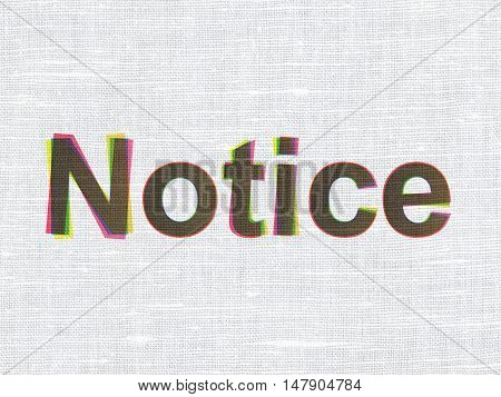 Law concept: CMYK Notice on linen fabric texture background
