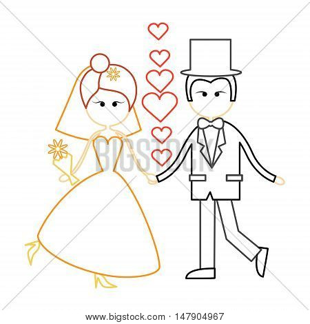 Cartoon Marriage Couple Fiance And Bride Wear Wedding Dress Holding Hands Dancing Vector Illustration