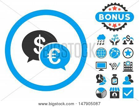 Euro Transactions icon with bonus elements. Glyph illustration style is flat iconic bicolor symbols, blue and gray colors, white background.