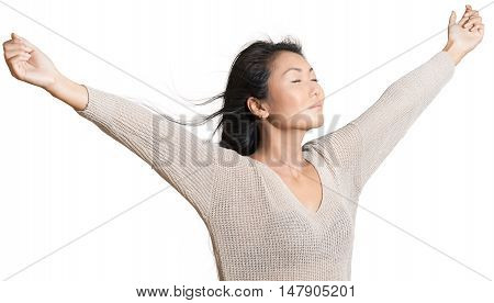 Friendly Asian Woman Stretching with Arms Open - Isolated