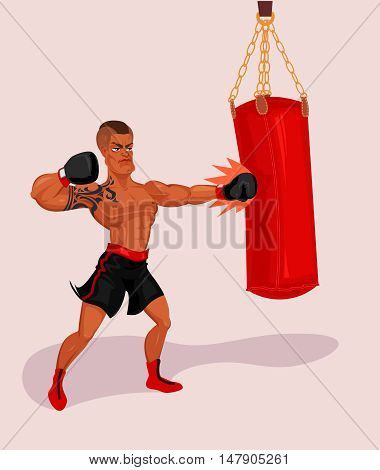 Vector illustration of an athlete training with a punching bag