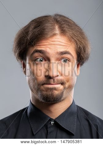 Portrait of a Man with Funny Expression