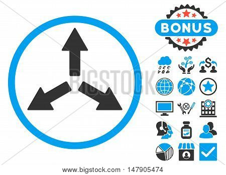 Expand Arrows icon with bonus pictures. Glyph illustration style is flat iconic bicolor symbols, blue and gray colors, white background.