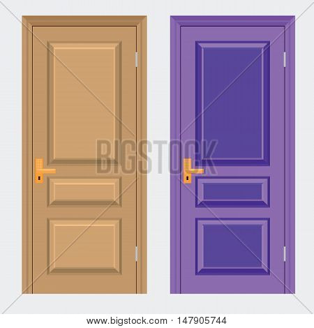 Vector colorful Closed Door with Frame Isolated on Background. Realistic and Flat color style design.
