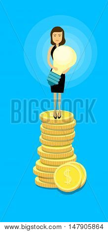 Asian Business Woman Stand On Coins Hold Light Bulb Success Idea Wealth Concept Flat Vector Illustration