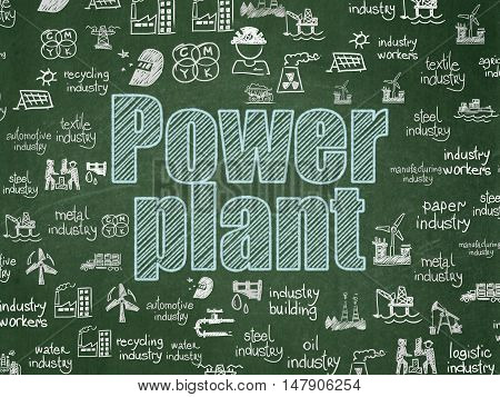 Manufacuring concept: Chalk Blue text Power Plant on School board background with  Hand Drawn Industry Icons, School Board