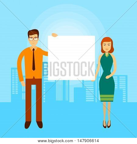 Asian Business Man Woman Hold Empty Banner Copy Space City Background Flat Vector Illustration
