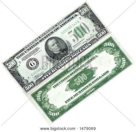 500Dollar Bill On White