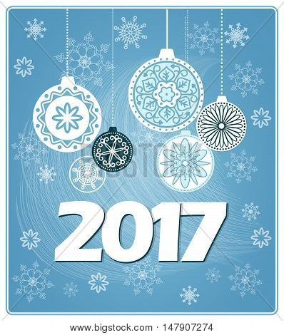 Vector design of 2017 new year`s card with decorated balls on the blue background with snowflakes. EPS 10.