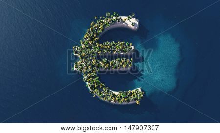 Success way. Tropical island in the form of the euro symbol 3D Illustration