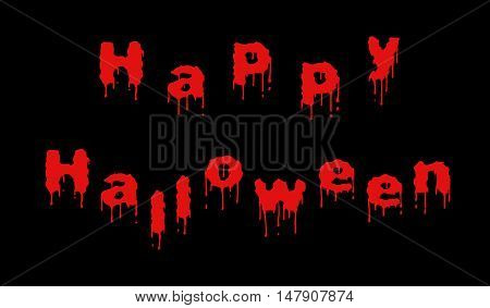 Words Happy Halloween written out of dripping red letters on the black background