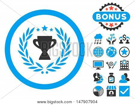 Glory icon with bonus pictogram. Glyph illustration style is flat iconic bicolor symbols, blue and gray colors, white background.