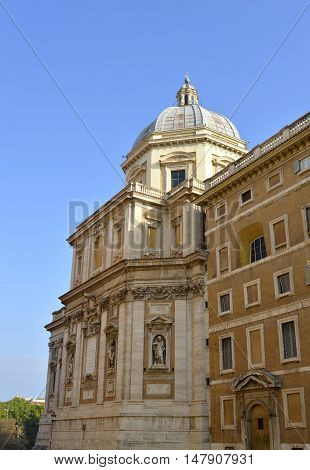 Rome Italy - September 11 2016 : The historical Basilica Papale di Santa Maria Maggiore church in Rome