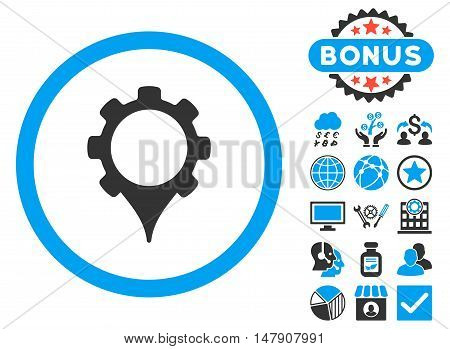 GPS Settings icon with bonus design elements. Glyph illustration style is flat iconic bicolor symbols, blue and gray colors, white background.