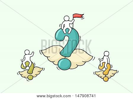 Sketch of flying questions with little workers. Doodle cute miniature with ask symbol and teamwork. Hand drawn cartoon vector illustration for business design.