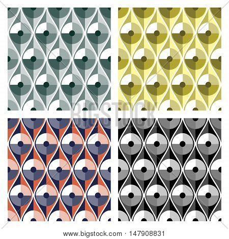 Set of seamless vector abstract gold metal iron patterns. Different colorful geometric symmetrical repeating backgrounds.