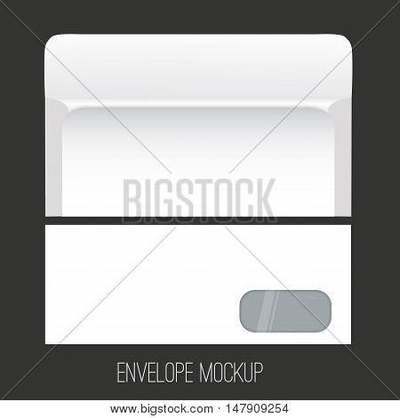 Blank envelope mockup with window, front and back view. Clean envelope mockup design on dark background