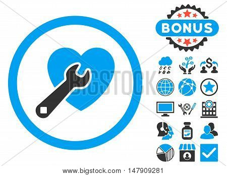 Heart Repair icon with bonus images. Glyph illustration style is flat iconic bicolor symbols, blue and gray colors, white background.