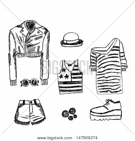 Doodle hand drawn New York fashion Vector image
