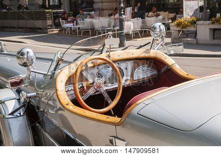 Vienna / Austria - July 20th 2014: Stutz 8 vintage car kabin