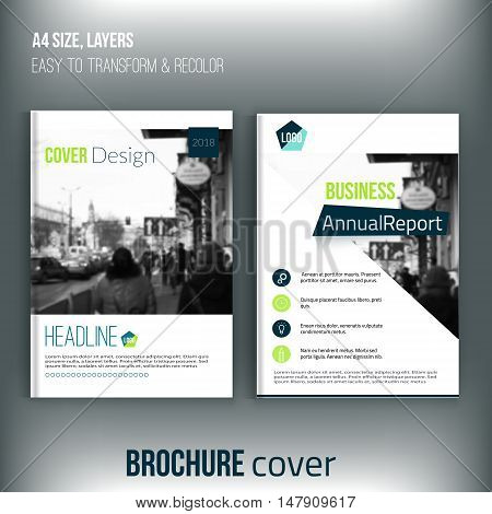 Set of Clean brochure cover templates with blured city landscape. Business brochure cover design, flyer brochure cover, professional corporate brochure cover