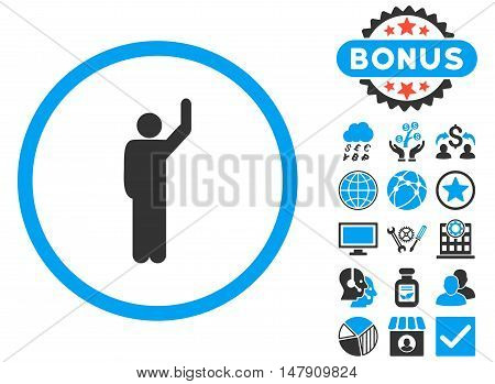 Hitchhike icon with bonus pictures. Glyph illustration style is flat iconic bicolor symbols, blue and gray colors, white background.
