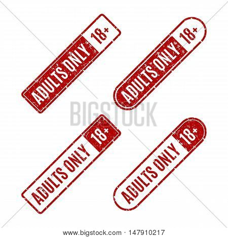 Set of four rectangular stamps adults only grungy icons age limit isolated on white background vector illustration.