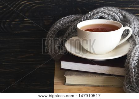Warm Knitted Plaid, Cup Of Tea And Books