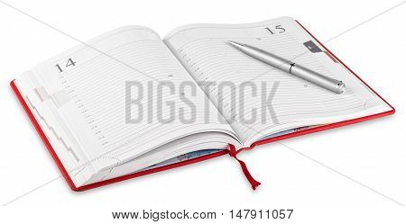 Opened red diary and pen isolated on white background