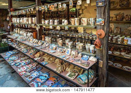 CHANIA, CRETE, GREECE - JULY 2016: Traditional Greek souvenir shop at Chania town on Crete island, Greece