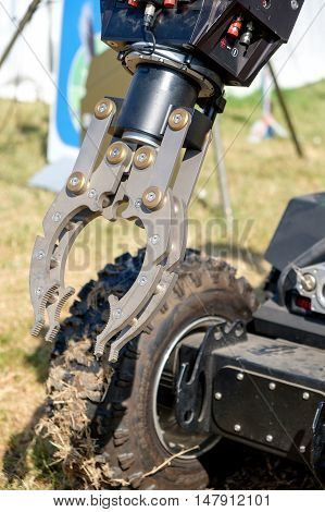 Ferrara Italy 16 September 2016 - The mechanical arm of a bomb disposal robot unit used by the Army to defuse bombs