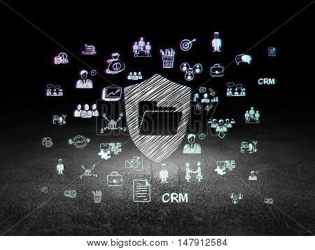 Business concept: Glowing Folder With Shield icon in grunge dark room with Dirty Floor, black background with  Hand Drawn Business Icons