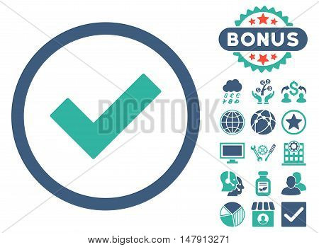 Accept icon with bonus elements. Glyph illustration style is flat iconic bicolor symbols, cobalt and cyan colors, white background.