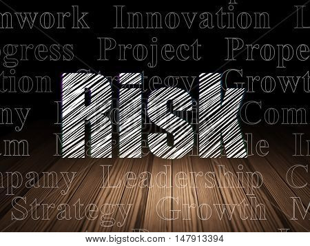 Finance concept: Glowing text Risk in grunge dark room with Wooden Floor, black background with  Tag Cloud