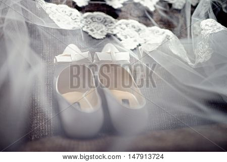 Beautiful Colorful Wedding Shoes For Bride Indoors. Beauty Of Bridal Heel For Marriage. Female Coupl