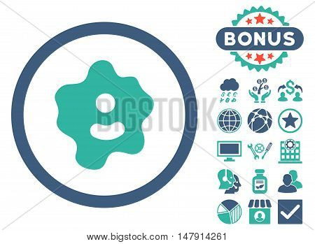 Ameba icon with bonus elements. Glyph illustration style is flat iconic bicolor symbols, cobalt and cyan colors, white background.