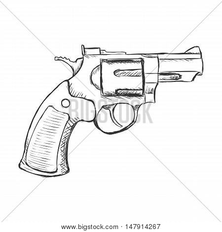 Vector Sketch Revolver Pistol