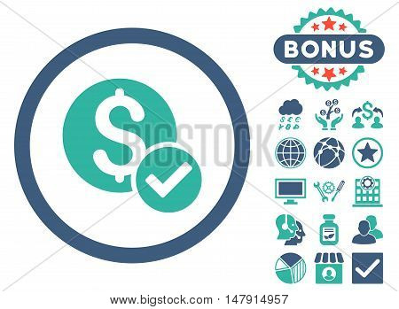 Approved Payment icon with bonus images. Glyph illustration style is flat iconic bicolor symbols, cobalt and cyan colors, white background.