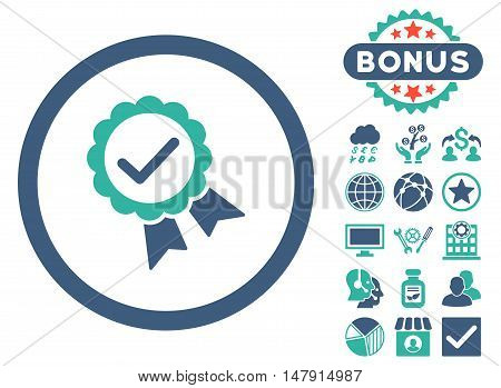 Approved icon with bonus design elements. Glyph illustration style is flat iconic bicolor symbols, cobalt and cyan colors, white background.