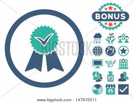 Approvement Seal icon with bonus pictures. Glyph illustration style is flat iconic bicolor symbols, cobalt and cyan colors, white background.