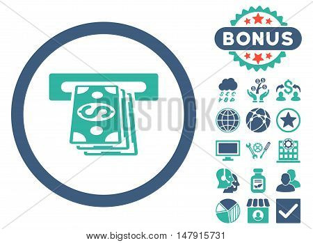 Atm Cashout icon with bonus elements. Glyph illustration style is flat iconic bicolor symbols, cobalt and cyan colors, white background.
