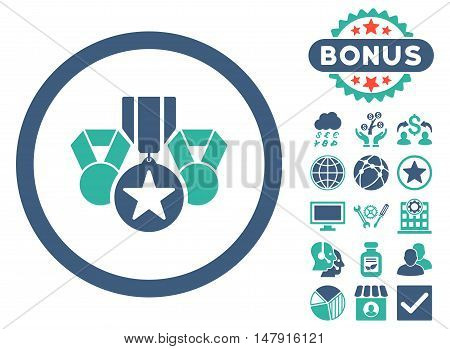 Awards icon with bonus pictures. Glyph illustration style is flat iconic bicolor symbols, cobalt and cyan colors, white background.