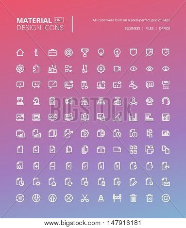 Set of material design line icons. Pixel perfect icons for business and marketing, office tools, digital media.